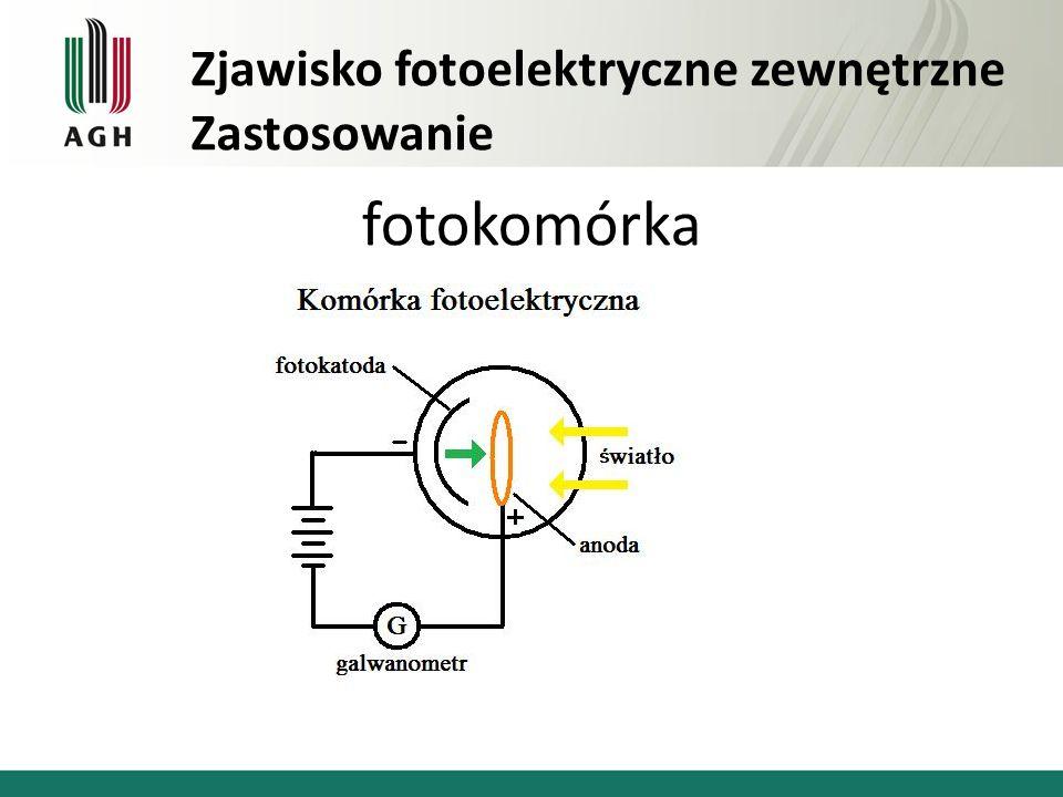 fotokomórka Zjawisko fotoelektryczne zewnętrzne Zastosowanie