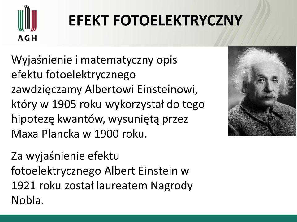 Wyjaśnienie i matematyczny opis efektu fotoelektrycznego zawdzięczamy Albertowi Einsteinowi, który w 1905 roku wykorzystał do tego hipotezę kwantów, w