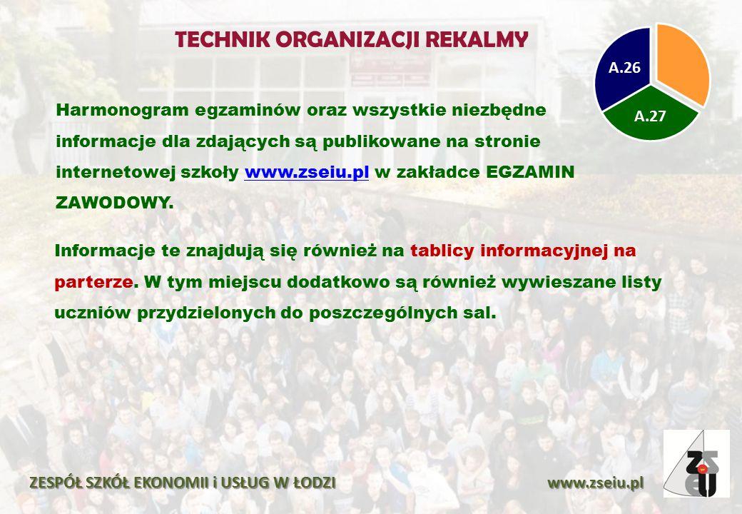 Harmonogram egzaminów oraz wszystkie niezbędne informacje dla zdających są publikowane na stronie internetowej szkoły www.zseiu.pl w zakładce EGZAMIN ZAWODOWY.www.zseiu.pl ZESPÓŁ SZKÓŁ EKONOMII i USŁUG W ŁODZI www.zseiu.pl Informacje te znajdują się również na tablicy informacyjnej na parterze.
