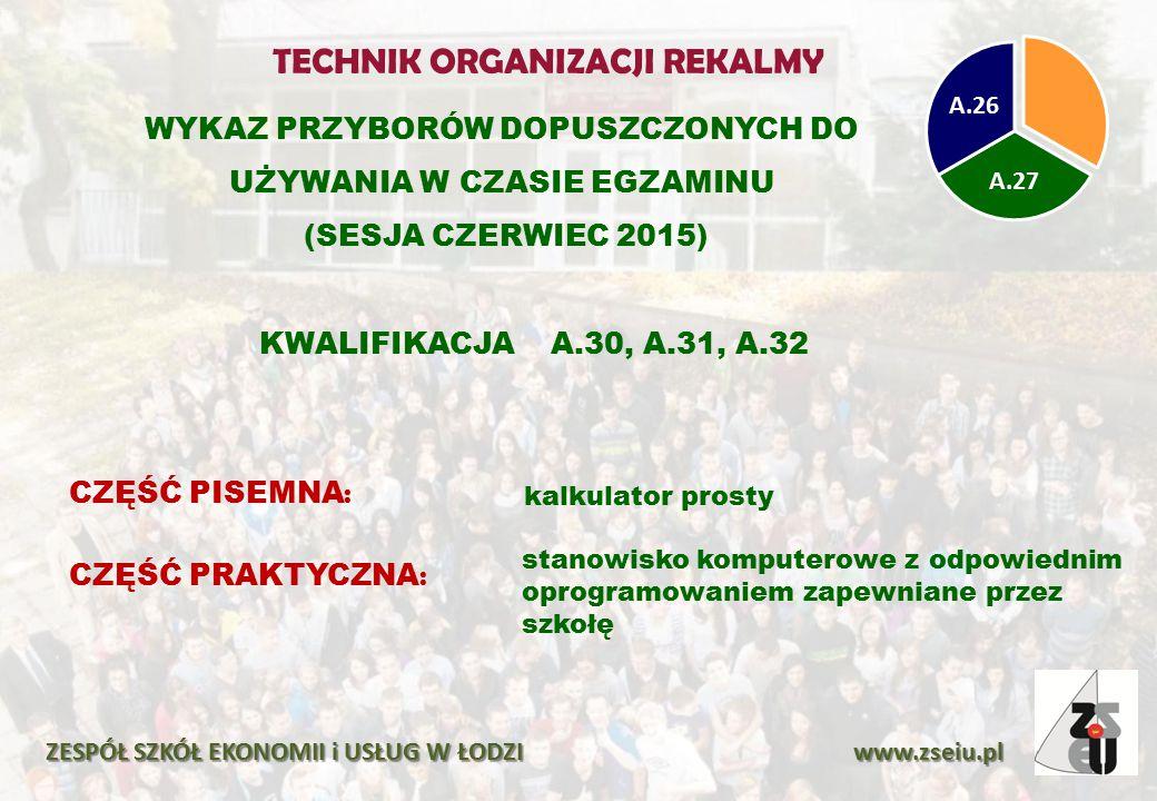 WYKAZ PRZYBORÓW DOPUSZCZONYCH DO UŻYWANIA W CZASIE EGZAMINU (SESJA CZERWIEC 2015) ZESPÓŁ SZKÓŁ EKONOMII i USŁUG W ŁODZI www.zseiu.pl CZĘŚĆ PISEMNA : kalkulator prosty CZĘŚĆ PRAKTYCZNA : stanowisko komputerowe z odpowiednim oprogramowaniem zapewniane przez szkołę TECHNIK ORGANIZACJI REKALMY KWALIFIKACJA A.30, A.31, A.32 A.27 A.26