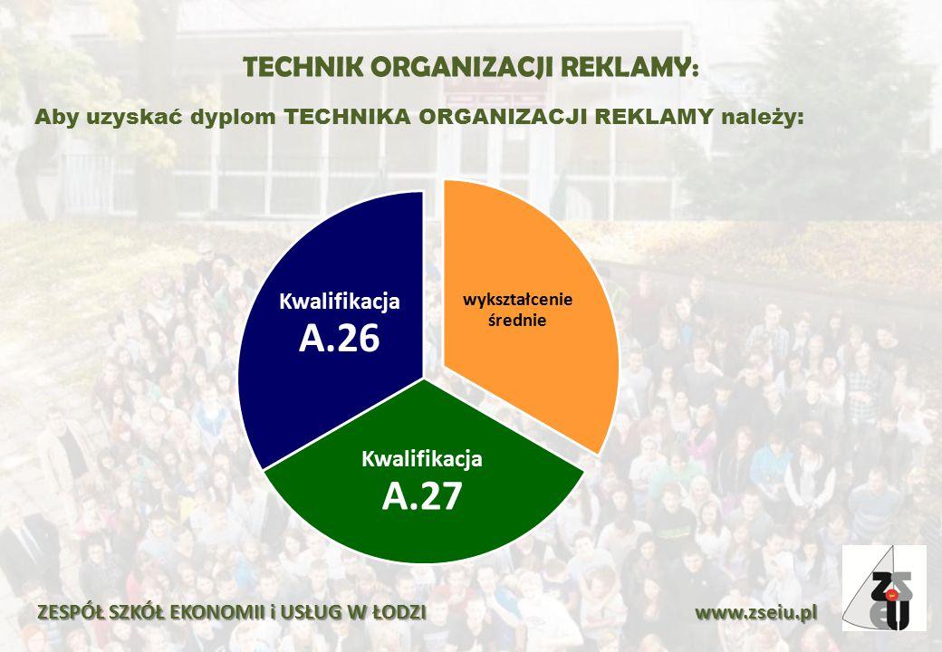 TECHNIK ORGANIZACJI REKLAMY: Aby uzyskać dyplom TECHNIKA ORGANIZACJI REKLAMY należy: ZESPÓŁ SZKÓŁ EKONOMII i USŁUG W ŁODZI www.zseiu.pl wykształcenie
