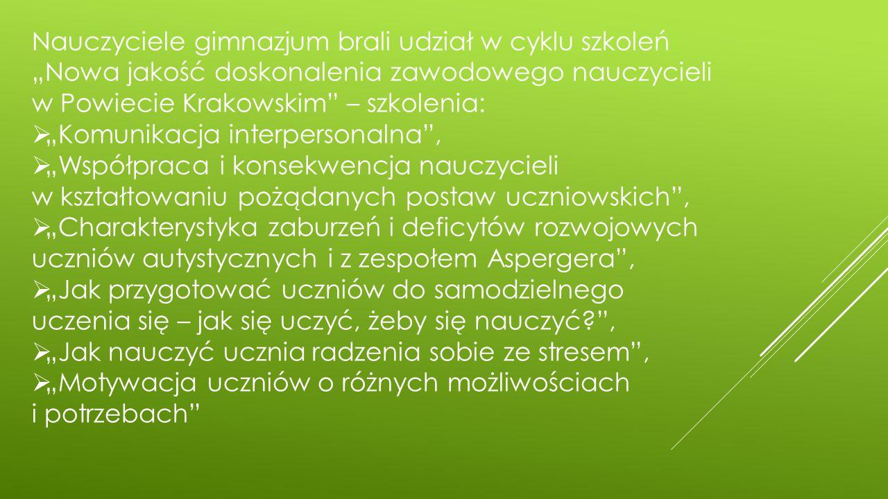 """Nauczyciele gimnazjum brali udział w cyklu szkoleń """"Nowa jakość doskonalenia zawodowego nauczycieli w Powiecie Krakowskim – szkolenia:  """"Komunikacja interpersonalna ,  """"Współpraca i konsekwencja nauczycieli w kształtowaniu pożądanych postaw uczniowskich ,  """"Charakterystyka zaburzeń i deficytów rozwojowych uczniów autystycznych i z zespołem Aspergera ,  """"Jak przygotować uczniów do samodzielnego uczenia się – jak się uczyć, żeby się nauczyć? ,  """"Jak nauczyć ucznia radzenia sobie ze stresem ,  """"Motywacja uczniów o różnych możliwościach i potrzebach"""