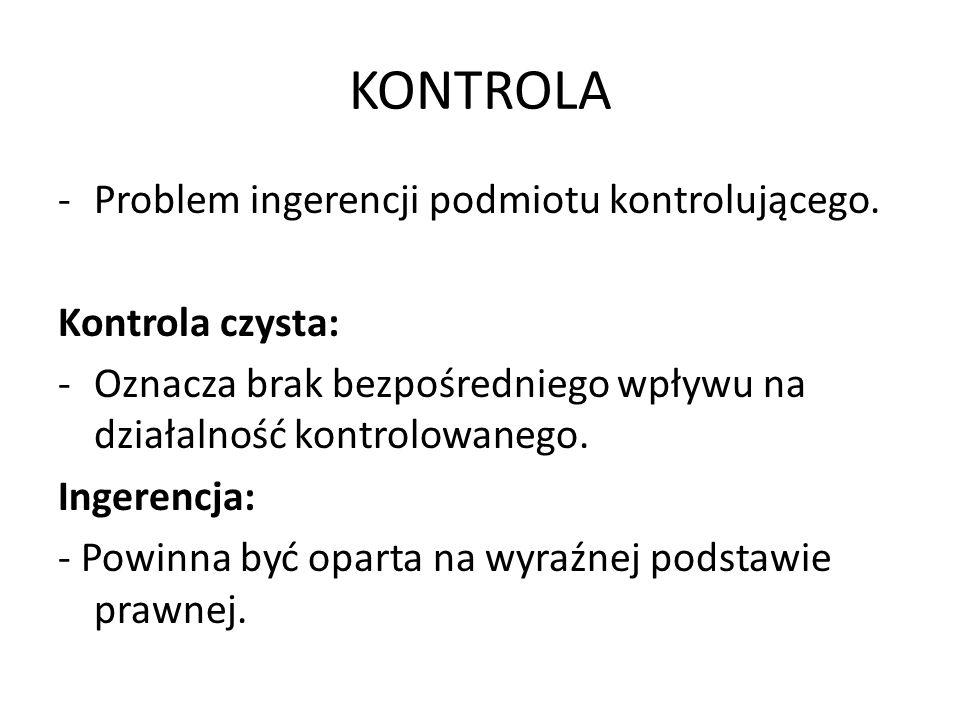 KONTROLA -Problem ingerencji podmiotu kontrolującego. Kontrola czysta: -Oznacza brak bezpośredniego wpływu na działalność kontrolowanego. Ingerencja: