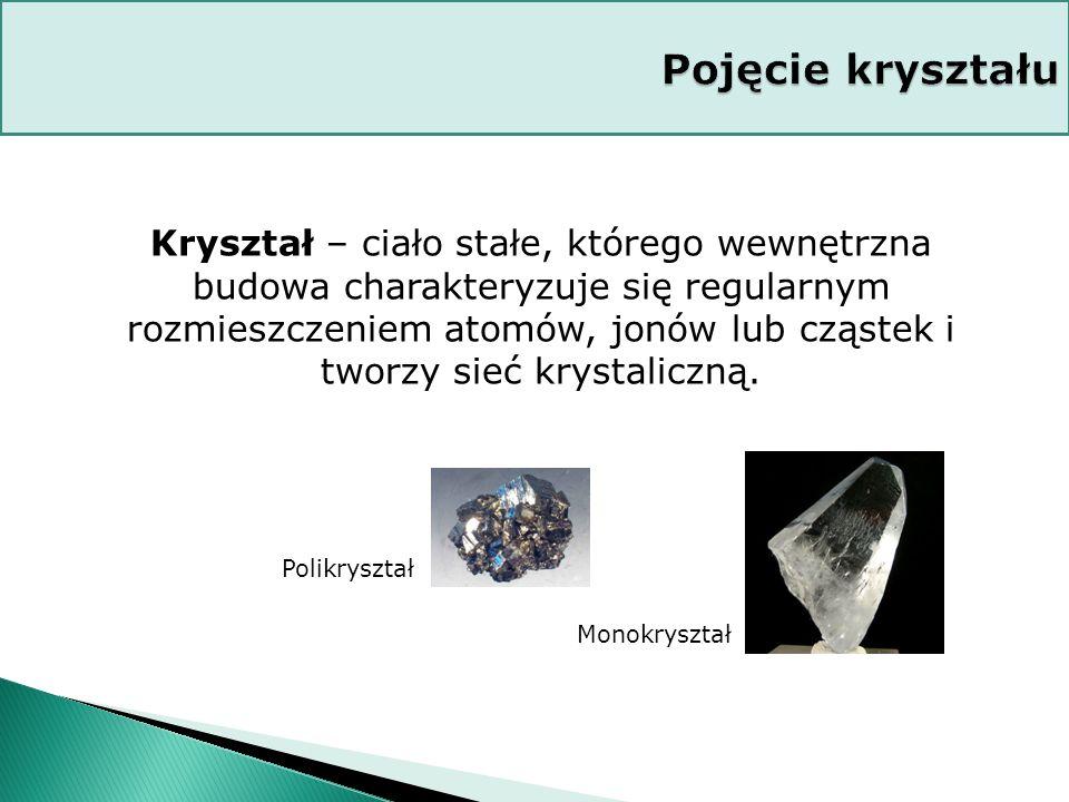 Kryształ – ciało stałe, którego wewnętrzna budowa charakteryzuje się regularnym rozmieszczeniem atomów, jonów lub cząstek i tworzy sieć krystaliczną.