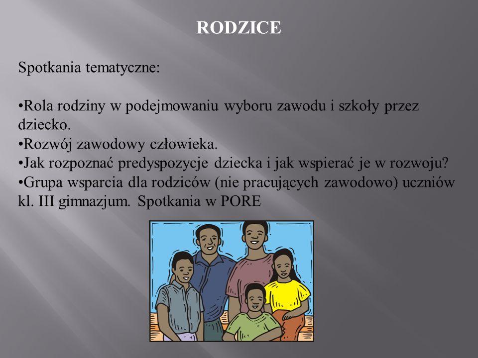 RODZICE Spotkania tematyczne: Rola rodziny w podejmowaniu wyboru zawodu i szkoły przez dziecko. Rozwój zawodowy człowieka. Jak rozpoznać predyspozycje