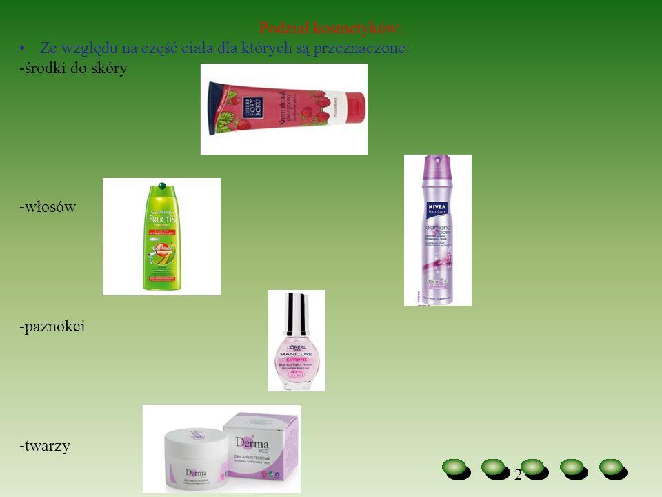 2 Podział kosmetyków: Ze względu na część ciała dla których są przeznaczone: -środki do skóry -włosów -paznokci -twarzy