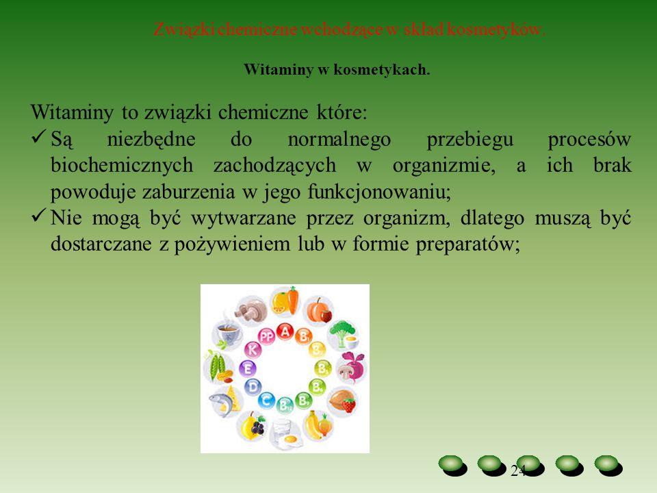 24 Związki chemiczne wchodzące w skład kosmetyków. Witaminy w kosmetykach. Witaminy to związki chemiczne które: Są niezbędne do normalnego przebiegu p