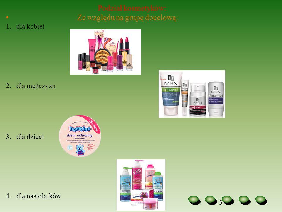 3 Podział kosmetyków: Ze względu na grupę docelową: 1.dla kobiet 2.dla mężczyzn 3.dla dzieci 4.dla nastolatków
