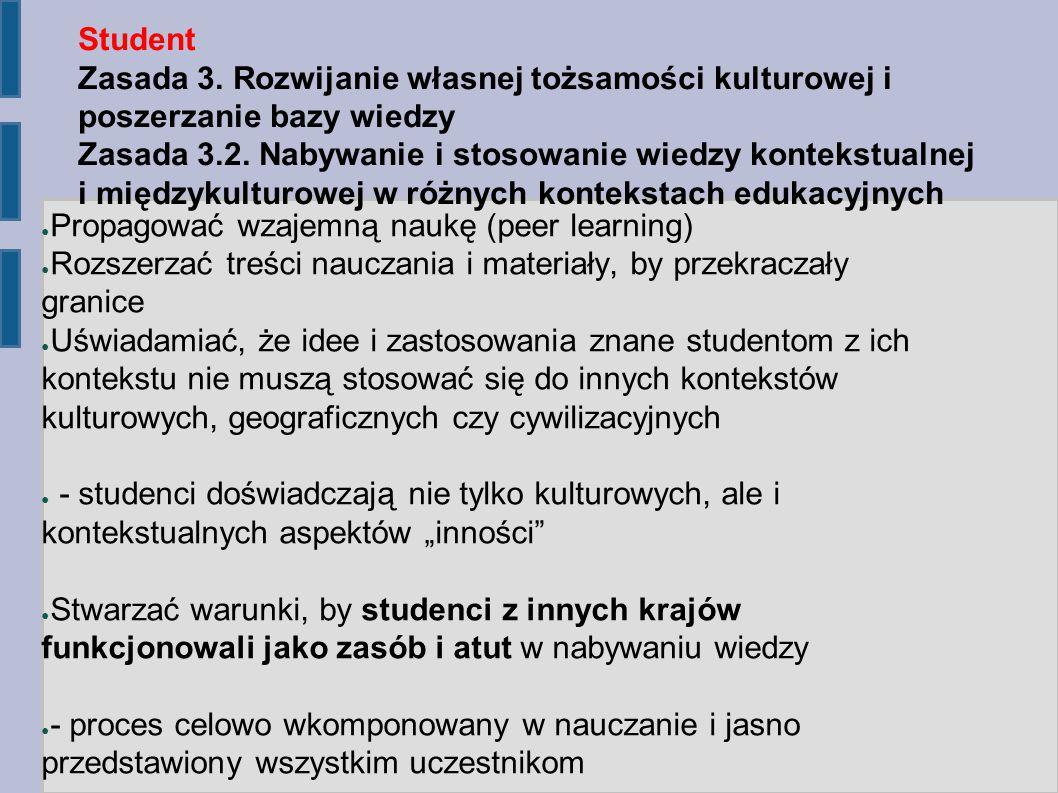 Student Zasada 3. Rozwijanie własnej tożsamości kulturowej i poszerzanie bazy wiedzy Zasada 3.2.