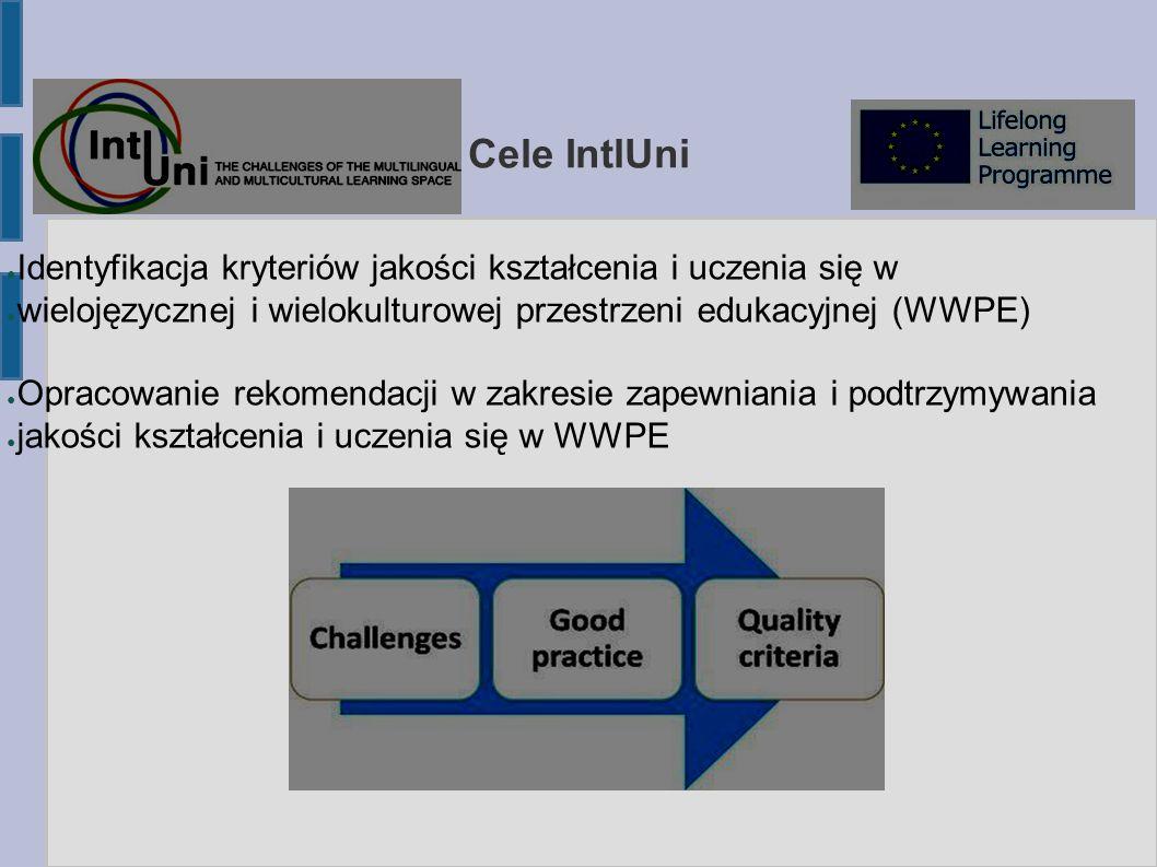 Cele IntlUni ● Identyfikacja kryteriów jakości kształcenia i uczenia się w ● wielojęzycznej i wielokulturowej przestrzeni edukacyjnej (WWPE) ● Opracowanie rekomendacji w zakresie zapewniania i podtrzymywania ● jakości kształcenia i uczenia się w WWPE