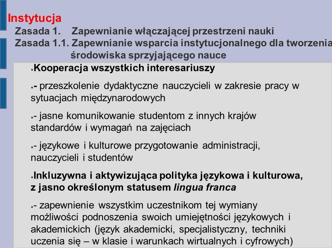 Instytucja Zasada 1. Zapewnianie włączającej przestrzeni nauki Zasada 1.1.