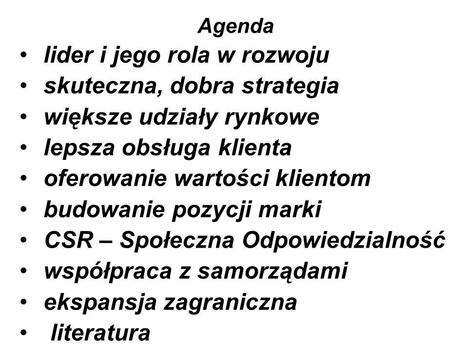Agenda lider i jego rola w rozwoju skuteczna, dobra strategia większe udziały rynkowe lepsza obsługa klienta oferowanie wartości klientom budowanie pozycji marki CSR – Społeczna Odpowiedzialność współpraca z samorządami ekspansja zagraniczna literatura