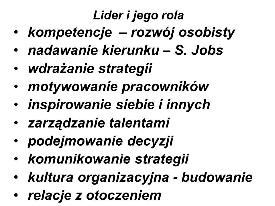 Lider i jego rola kompetencje – rozwój osobisty nadawanie kierunku – S.