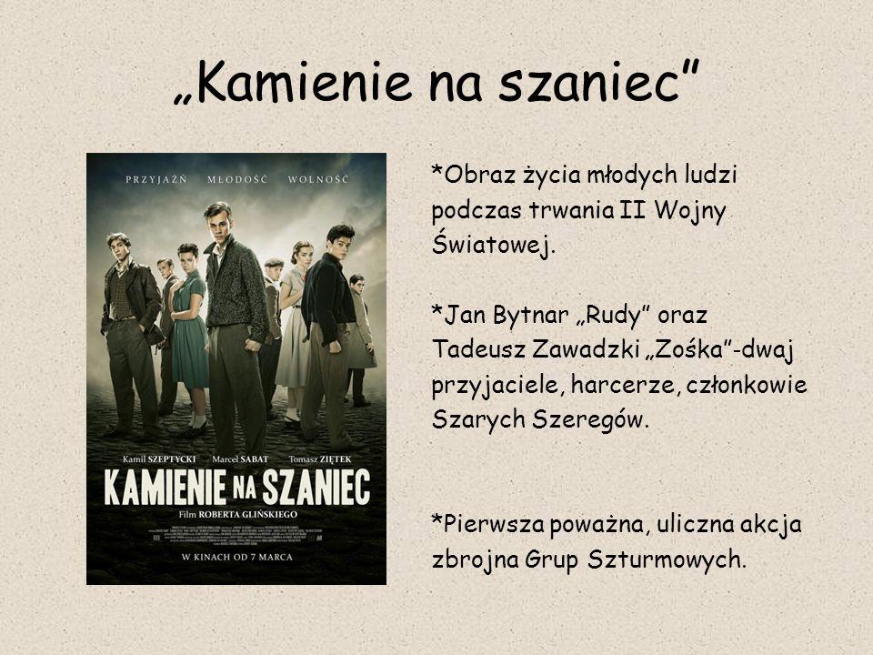 """""""Kamienie na szaniec"""" *Obraz życia młodych ludzi podczas trwania II Wojny Światowej. *Jan Bytnar """"Rudy"""" oraz Tadeusz Zawadzki """"Zośka"""" - dwaj przyjacie"""