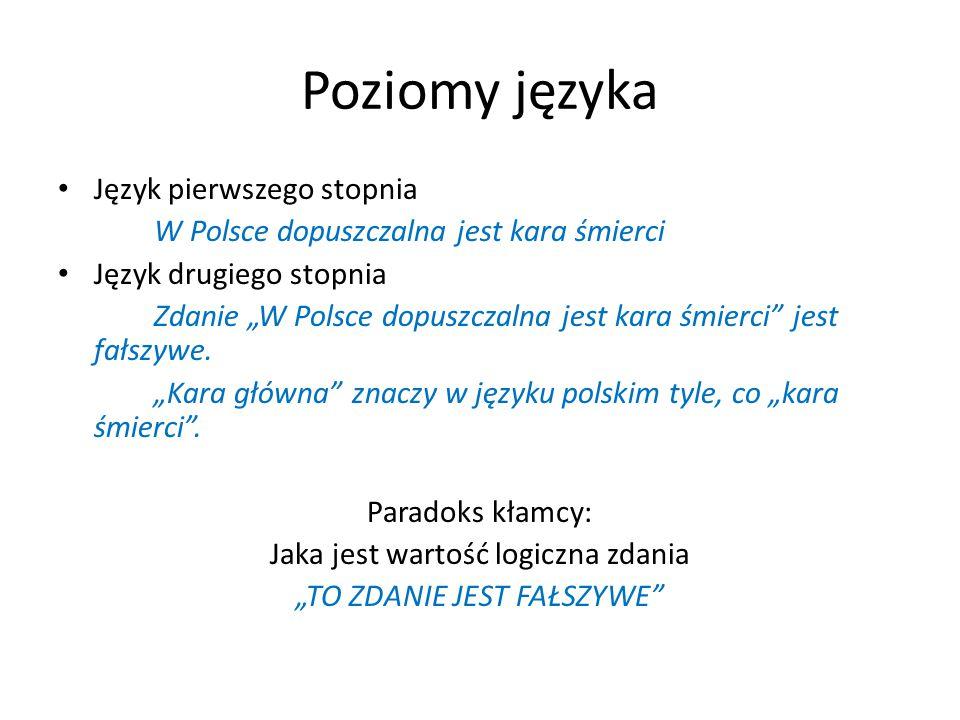"""Poziomy języka Język pierwszego stopnia W Polsce dopuszczalna jest kara śmierci Język drugiego stopnia Zdanie """"W Polsce dopuszczalna jest kara śmierci jest fałszywe."""