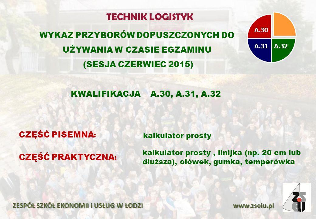 WYKAZ PRZYBORÓW DOPUSZCZONYCH DO UŻYWANIA W CZASIE EGZAMINU (SESJA CZERWIEC 2015) ZESPÓŁ SZKÓŁ EKONOMII i USŁUG W ŁODZI www.zseiu.pl CZĘŚĆ PISEMNA : k