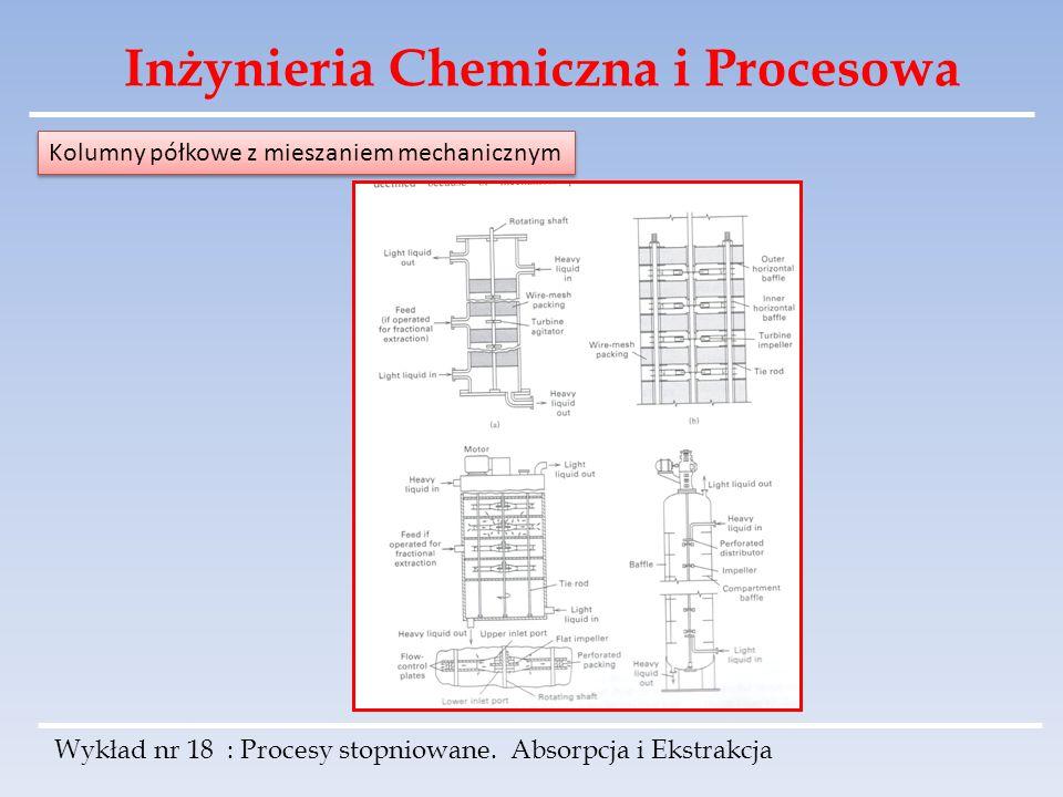 Inżynieria Chemiczna i Procesowa Wykład nr 18 : Procesy stopniowane. Absorpcja i Ekstrakcja Kolumny półkowe z mieszaniem mechanicznym