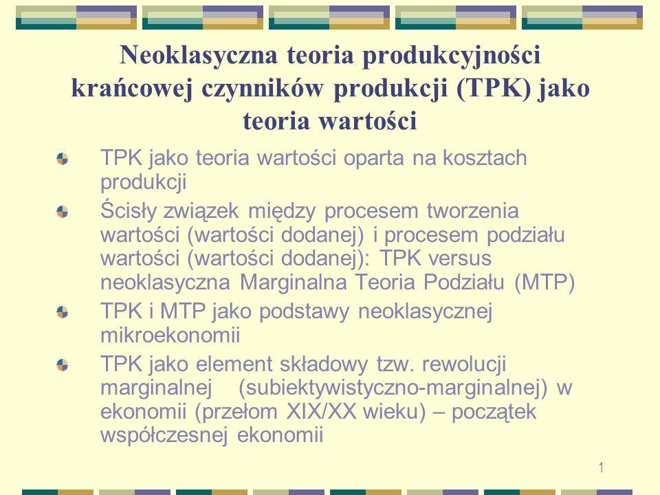 Neoklasyczna teoria produkcyjności krańcowej czynników produkcji (TPK) jako teoria wartości TPK jako teoria wartości oparta na kosztach produkcji Ścis