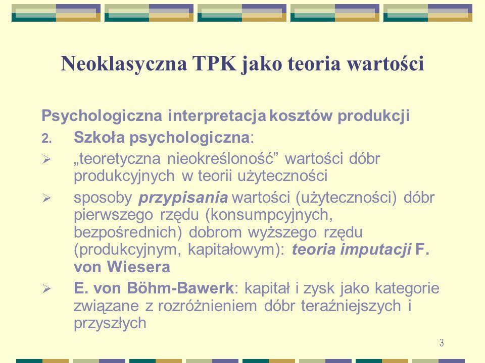 """Neoklasyczna TPK jako teoria wartości Psychologiczna interpretacja kosztów produkcji 2. Szkoła psychologiczna:  """"teoretyczna nieokreśloność"""" wartości"""