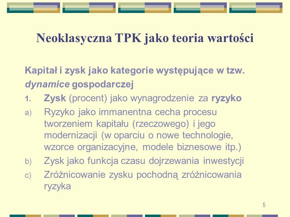 Neoklasyczna TPK jako teoria wartości Kapitał i zysk jako kategorie występujące w tzw. dynamice gospodarczej 1. Zysk (procent) jako wynagrodzenie za r