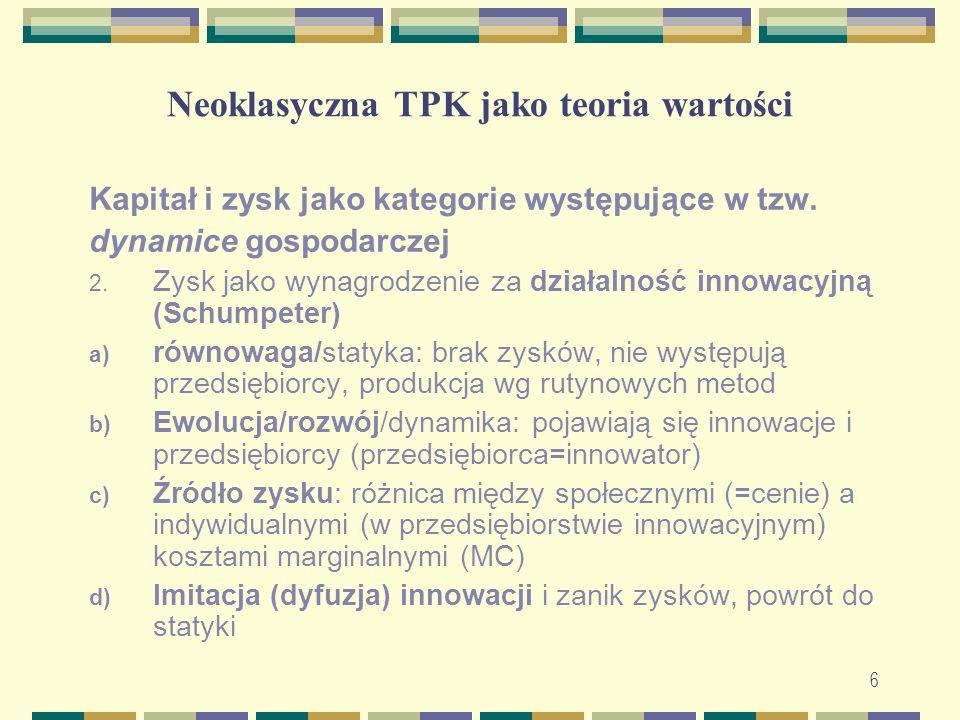 Neoklasyczna TPK jako teoria wartości Kapitał i zysk jako kategorie występujące w tzw. dynamice gospodarczej 2. Zysk jako wynagrodzenie za działalność