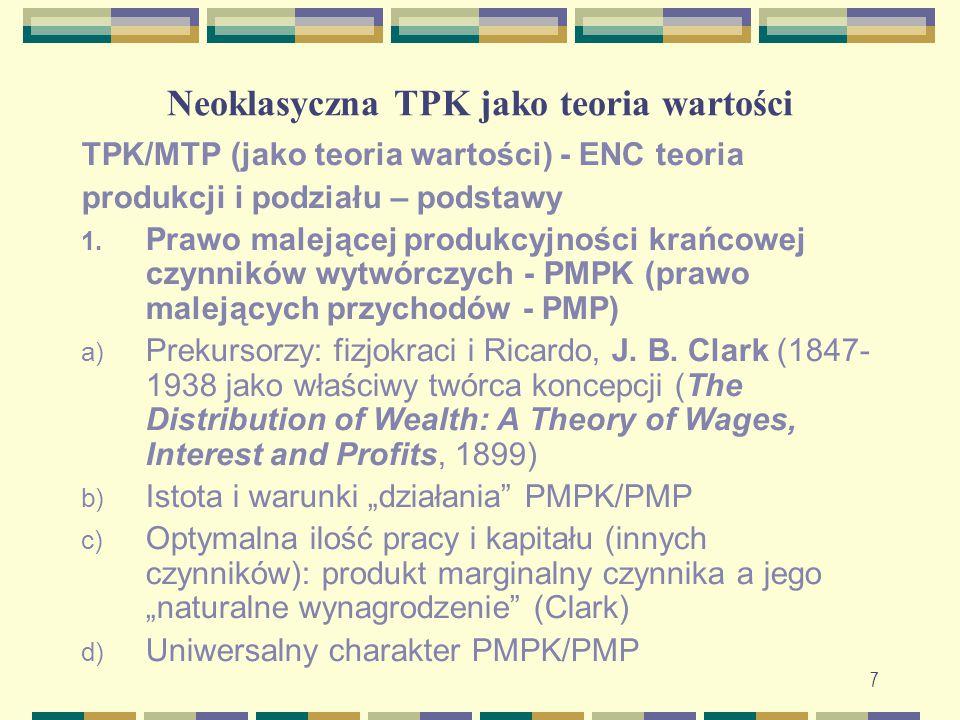 Neoklasyczna TPK jako teoria wartości TPK/MTP (jako teoria wartości) - ENC teoria produkcji i podziału – podstawy 1. Prawo malejącej produkcyjności kr
