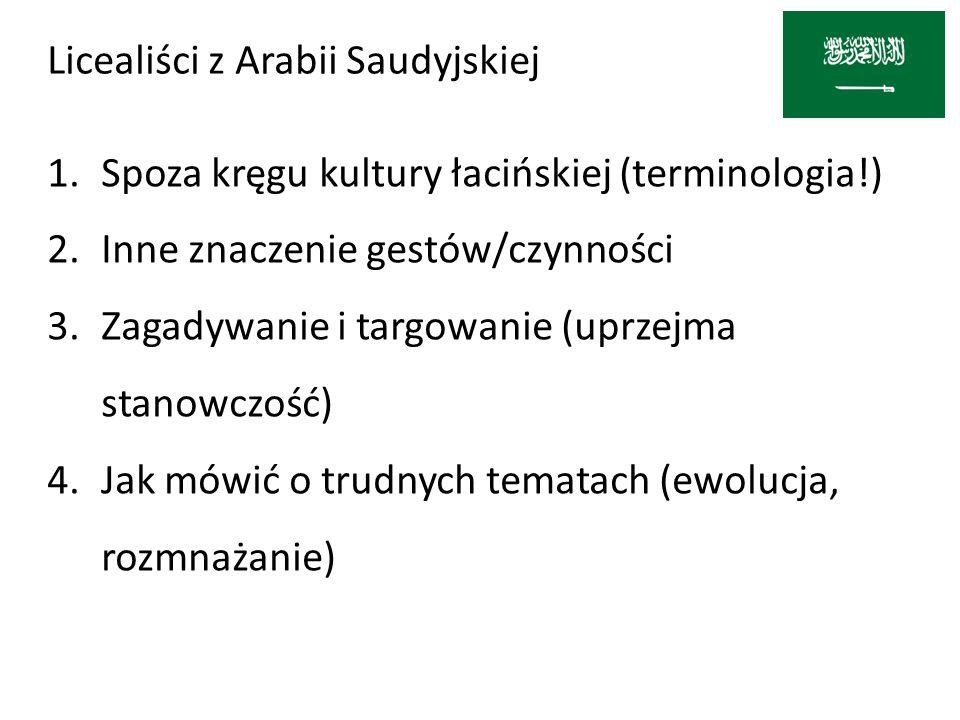 Licealiści z Arabii Saudyjskiej 1.Spoza kręgu kultury łacińskiej (terminologia!) 2.Inne znaczenie gestów/czynności 3.Zagadywanie i targowanie (uprzejm