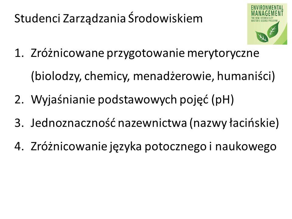 Studenci Zarządzania Środowiskiem 1.Zróżnicowane przygotowanie merytoryczne (biolodzy, chemicy, menadżerowie, humaniści) 2.Wyjaśnianie podstawowych po