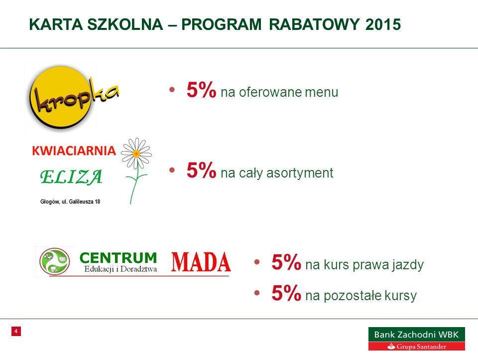 4 KARTA SZKOLNA – PROGRAM RABATOWY 2015 5% na oferowane menu 5% na cały asortyment 5% na kurs prawa jazdy 5% na pozostałe kursy
