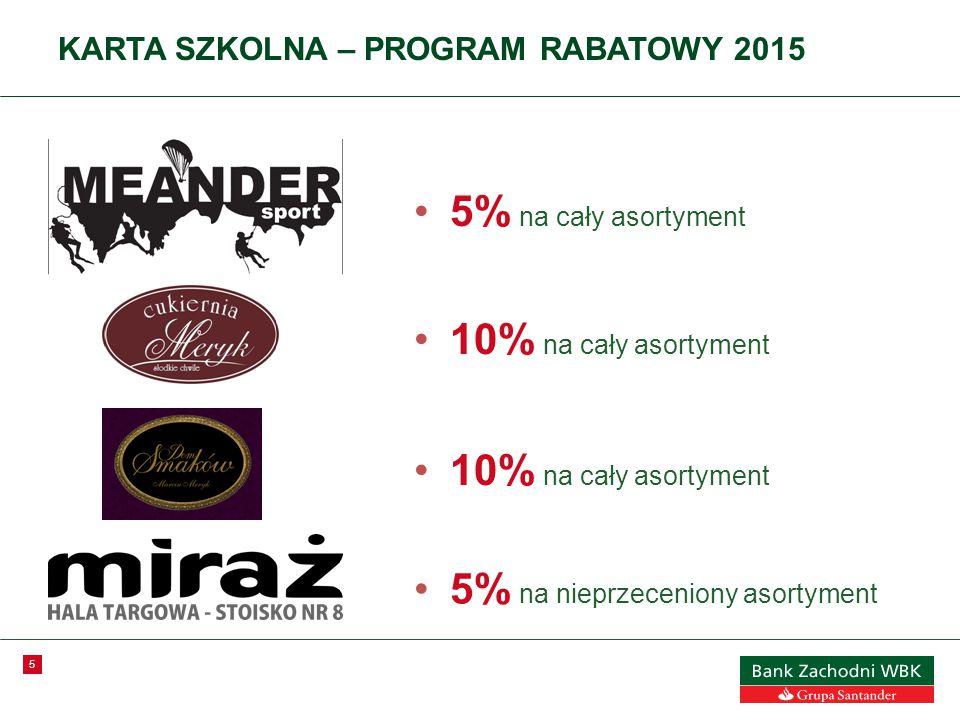 5 KARTA SZKOLNA – PROGRAM RABATOWY 2015 5% na cały asortyment 10% na cały asortyment 5% na nieprzeceniony asortyment 10% na cały asortyment