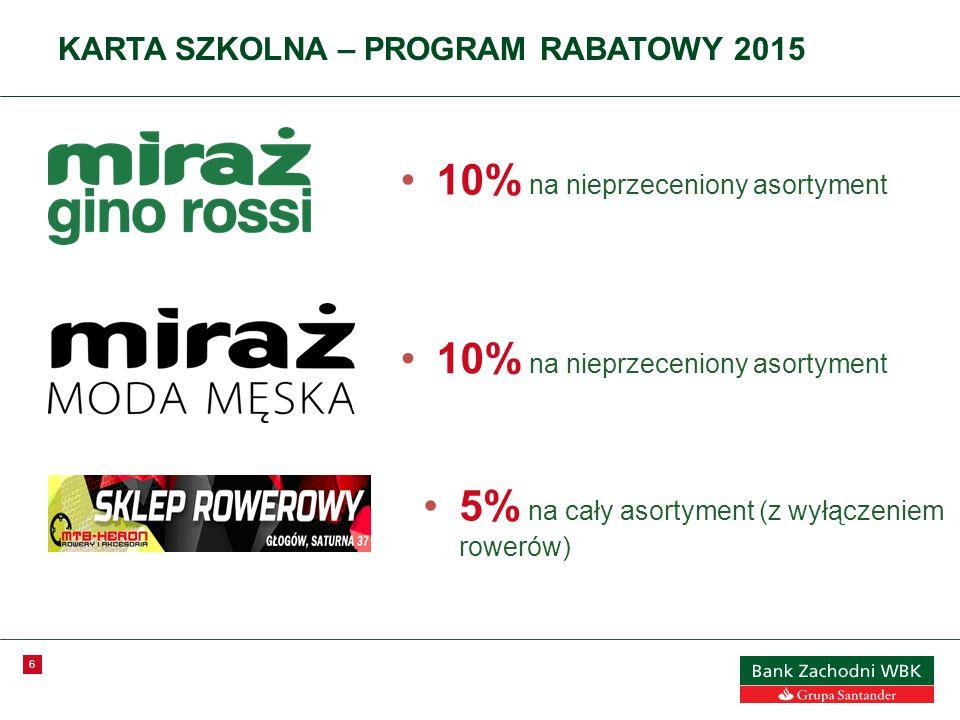 6 KARTA SZKOLNA – PROGRAM RABATOWY 2015 10% na nieprzeceniony asortyment 5% na cały asortyment (z wyłączeniem rowerów)