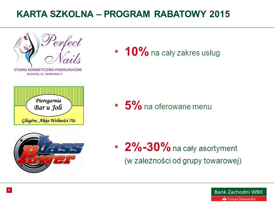 8 KARTA SZKOLNA – PROGRAM RABATOWY 2015 10% na cały zakres usług 5% na oferowane menu 2%-30% na cały asortyment (w zależności od grupy towarowej)