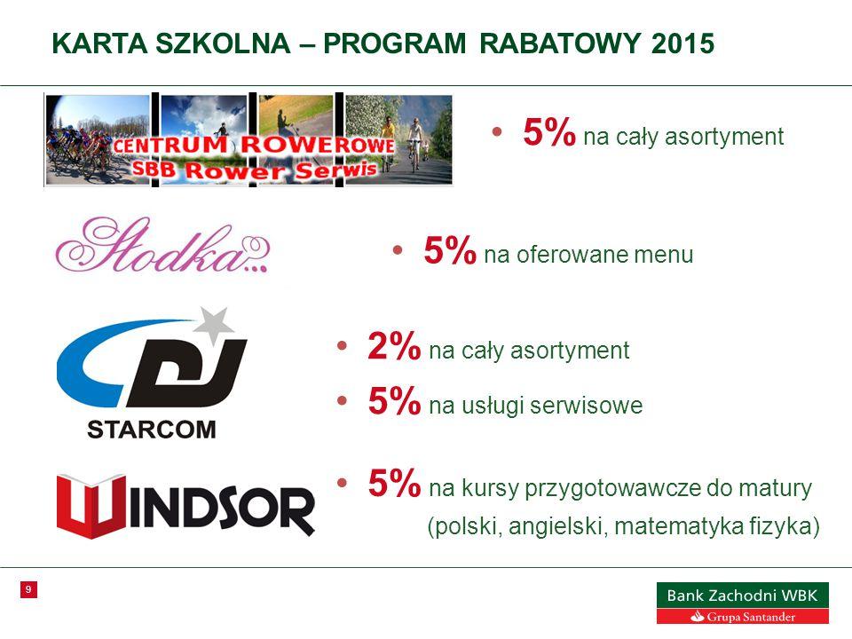 9 KARTA SZKOLNA – PROGRAM RABATOWY 2015 5% na cały asortyment 5% na oferowane menu 2% na cały asortyment 5% na usługi serwisowe 5% na kursy przygotowawcze do matury (polski, angielski, matematyka fizyka)