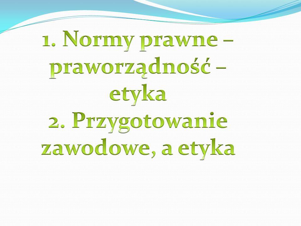 1.Normy prawne; 2.Praworządność; 3. Normy prawne, a etyka; 4.