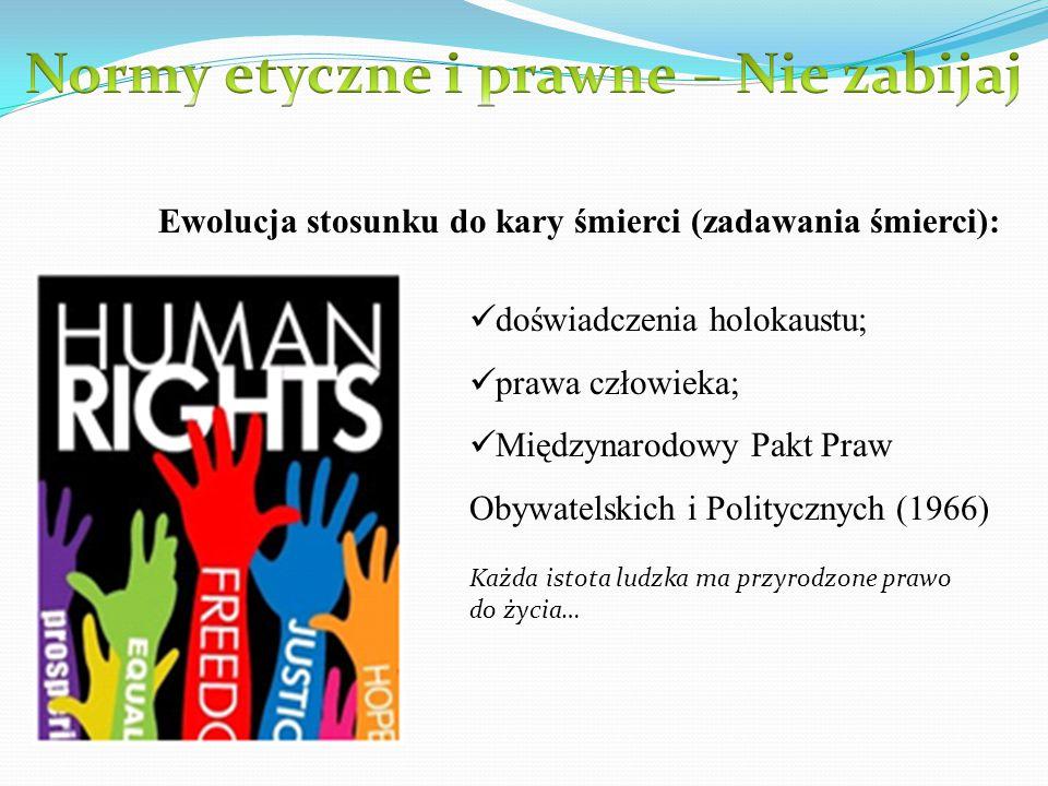 Ewolucja stosunku do kary śmierci (zadawania śmierci): doświadczenia holokaustu; prawa człowieka; Międzynarodowy Pakt Praw Obywatelskich i Politycznyc