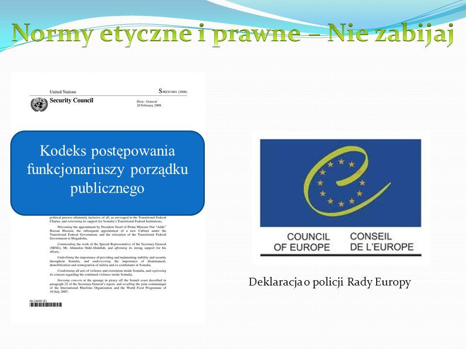 Kodeks postępowania funkcjonariuszy porządku publicznego Deklaracja o policji Rady Europy