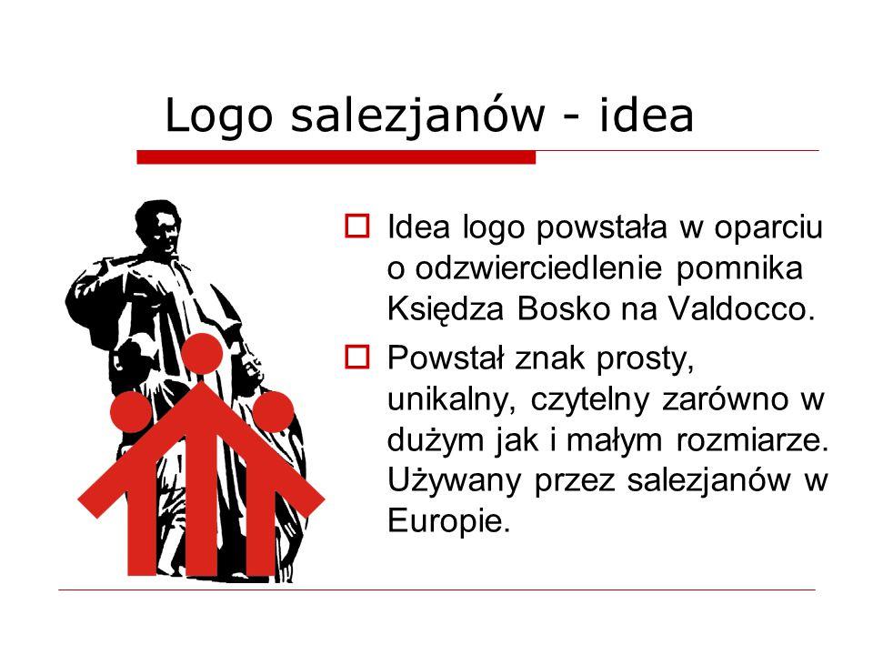  Idea logo powstała w oparciu o odzwierciedlenie pomnika Księdza Bosko na Valdocco.  Powstał znak prosty, unikalny, czytelny zarówno w dużym jak i m