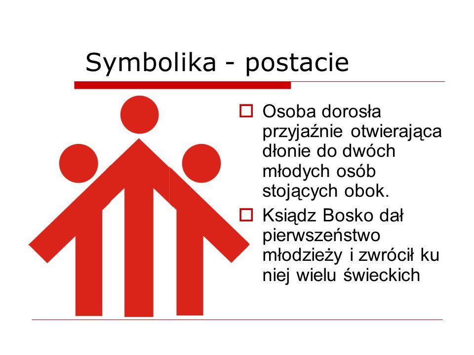Symbolika - postacie  Osoba dorosła przyjaźnie otwierająca dłonie do dwóch młodych osób stojących obok.  Ksiądz Bosko dał pierwszeństwo młodzieży i