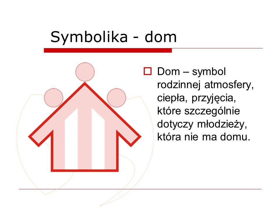 Symbolika - dom  Strzałka w górę – wymiar religijny – ewangelizacja, określenie celu naszej misji.