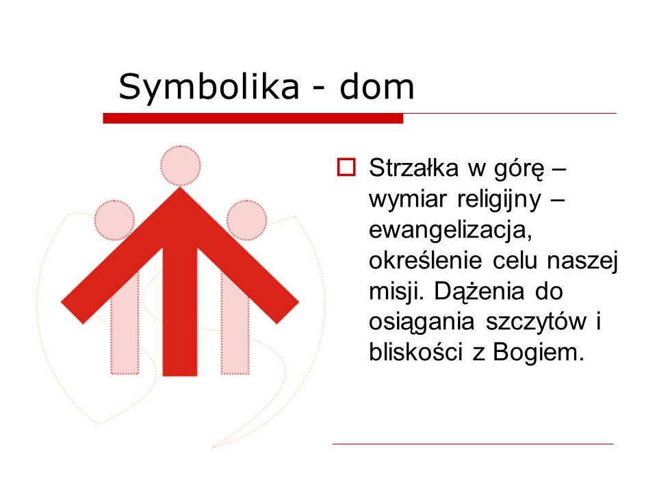 Symbolika - dom  Strzałka w górę – wymiar religijny – ewangelizacja, określenie celu naszej misji. Dążenia do osiągania szczytów i bliskości z Bogiem