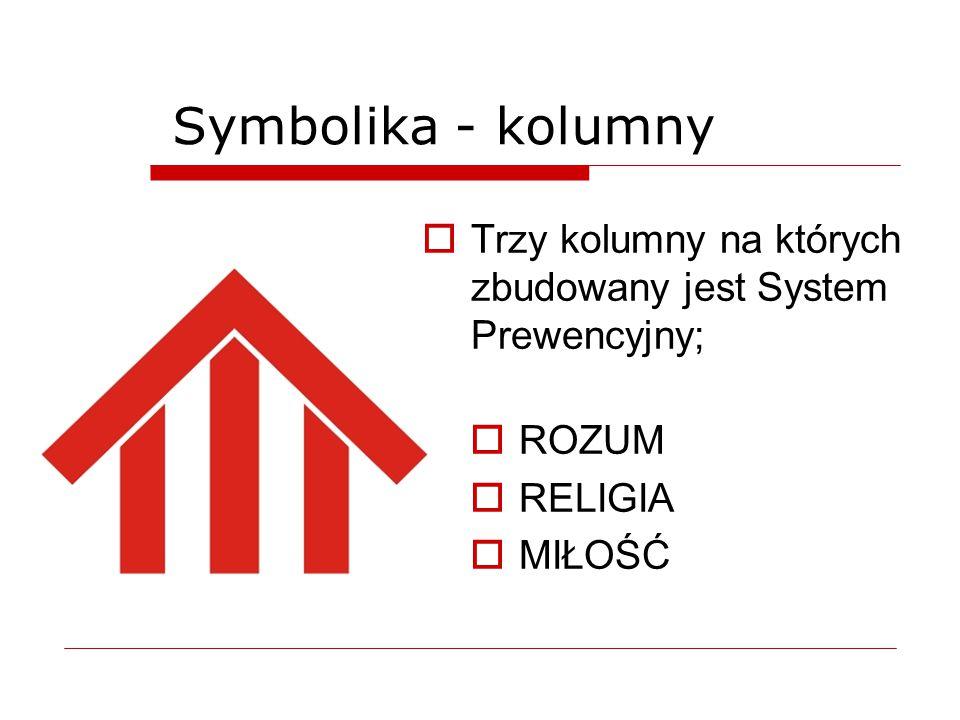 Symbolika - kolumny  Trzy kolumny na których zbudowany jest System Prewencyjny;  ROZUM  RELIGIA  MIŁOŚĆ