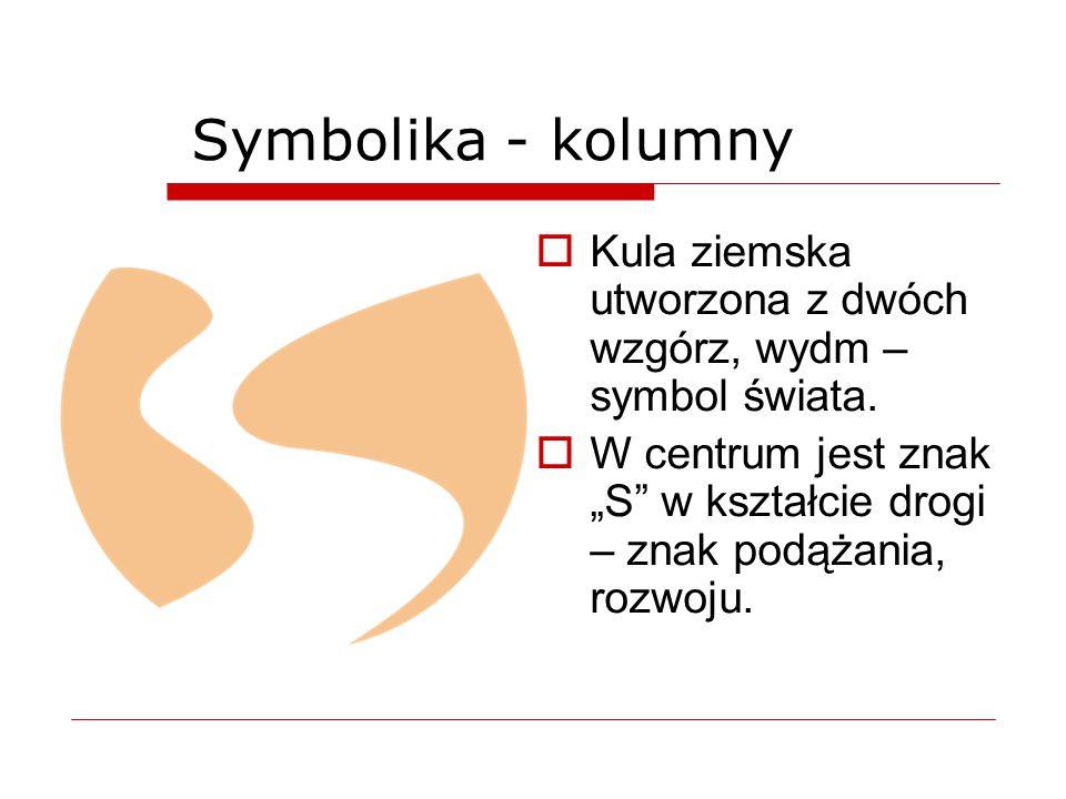 """Symbolika - kolumny  Kula ziemska utworzona z dwóch wzgórz, wydm – symbol świata.  W centrum jest znak """"S"""" w kształcie drogi – znak podążania, rozwo"""