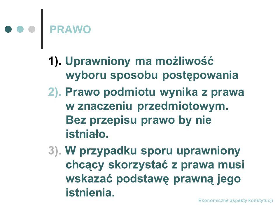 Ekonomiczne aspekty konstytucji PRAWO 1).Uprawniony ma możliwość wyboru sposobu postępowania 2).