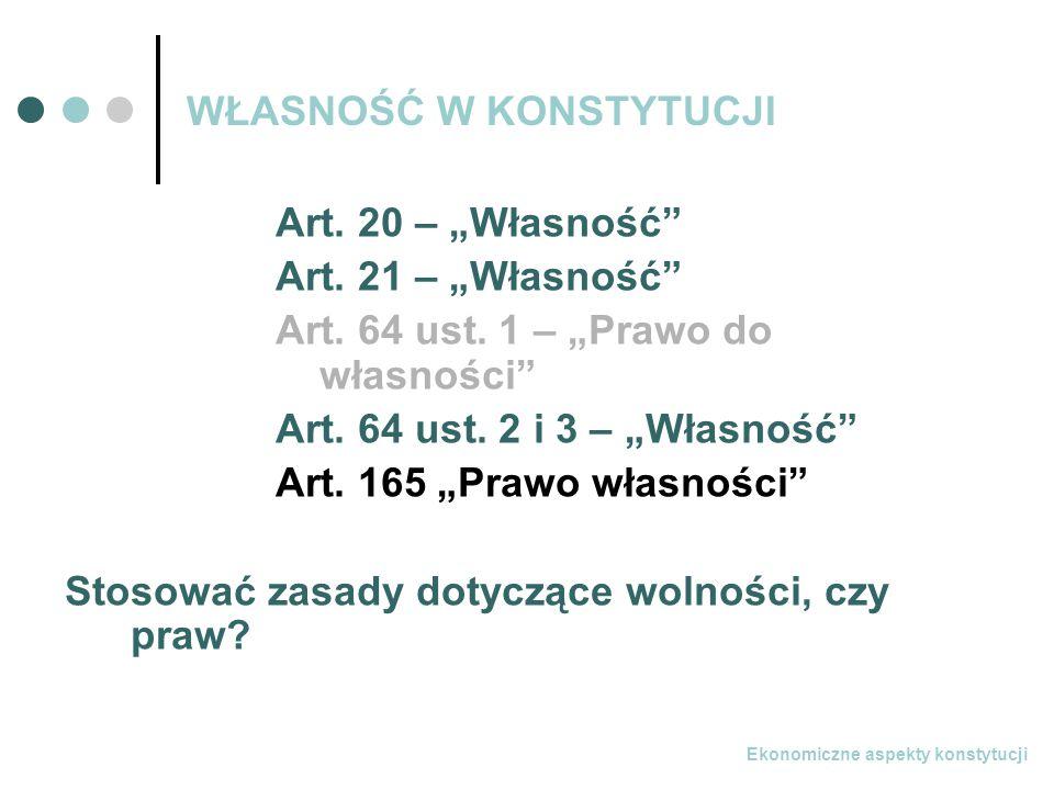 Ekonomiczne aspekty konstytucji WŁASNOŚĆ W KONSTYTUCJI Art.