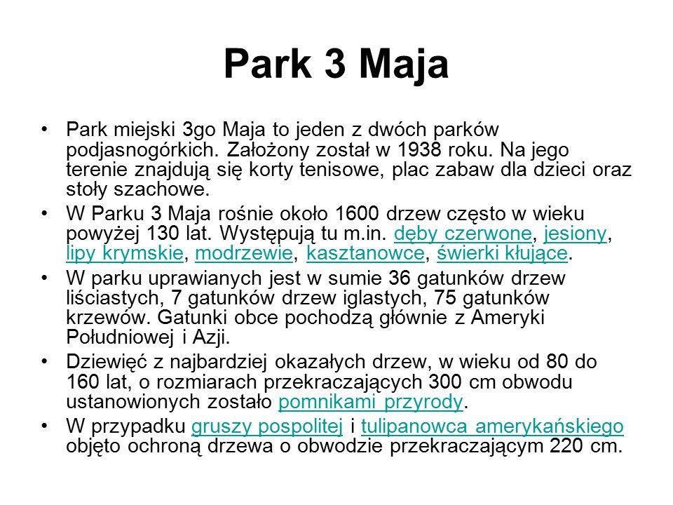 Park 3 Maja Park miejski 3go Maja to jeden z dwóch parków podjasnogórkich. Założony został w 1938 roku. Na jego terenie znajdują się korty tenisowe, p