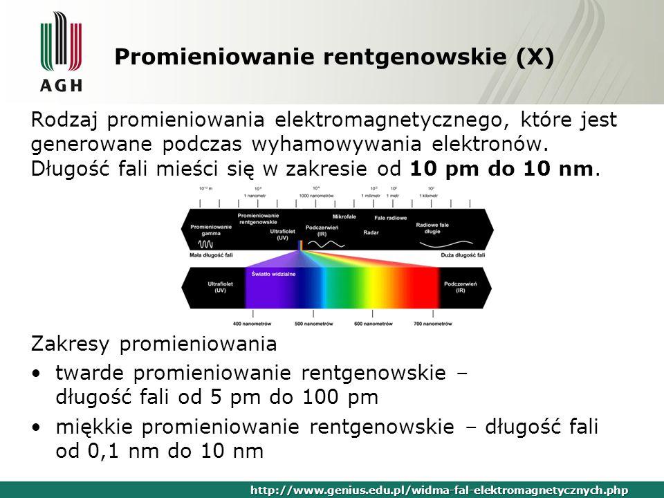 Promieniowanie rentgenowskie (X) Rodzaj promieniowania elektromagnetycznego, które jest generowane podczas wyhamowywania elektronów. Długość fali mieś