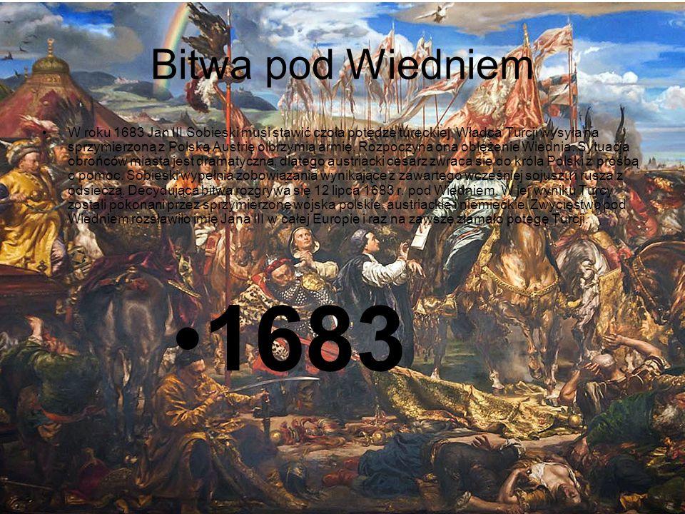 Przyczyny i skutki PRZYCZYNY Zawarcie sojuszu polsko – austriackiego przeciwko Turkom Oblężenie Wiednia przez wojska tureckie WYDARZENIE Jan III Sobieski pokonuje Turków pod Wiedniem w 1683 r.