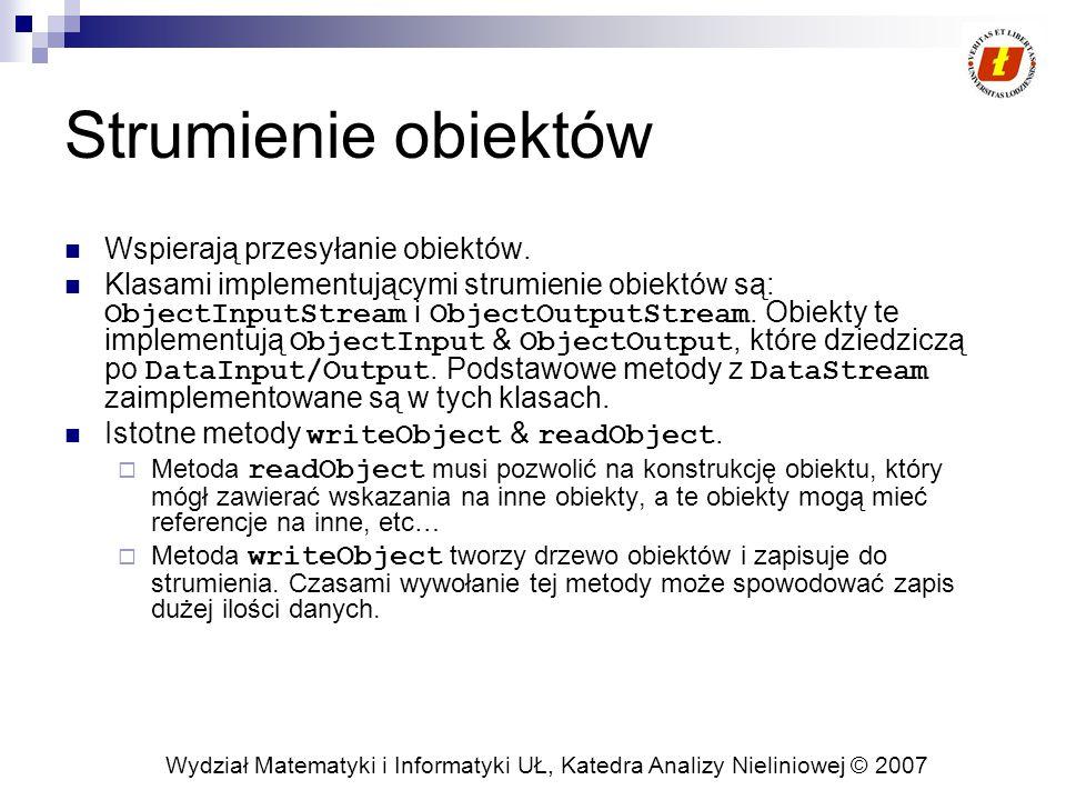 Wydział Matematyki i Informatyki UŁ, Katedra Analizy Nieliniowej © 2007 Strumienie obiektów Wspierają przesyłanie obiektów.