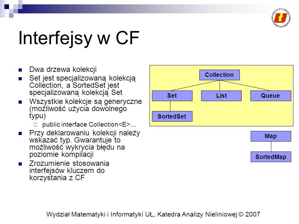 Wydział Matematyki i Informatyki UŁ, Katedra Analizy Nieliniowej © 2007 Interfejsy w CF Dwa drzewa kolekcji Set jest specjalizowaną kolekcją Collectio