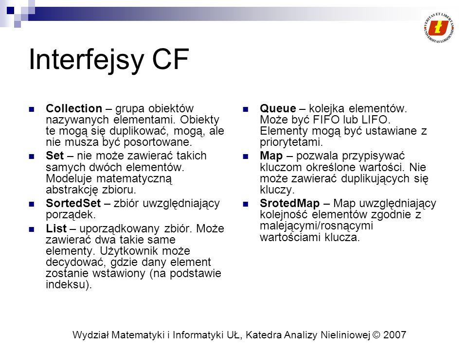 Wydział Matematyki i Informatyki UŁ, Katedra Analizy Nieliniowej © 2007 Interfejsy CF Collection – grupa obiektów nazywanych elementami. Obiekty te mo